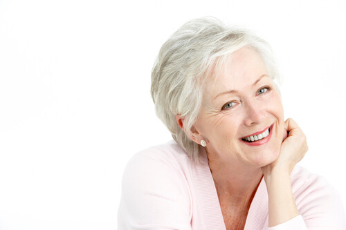 A smiling older woman