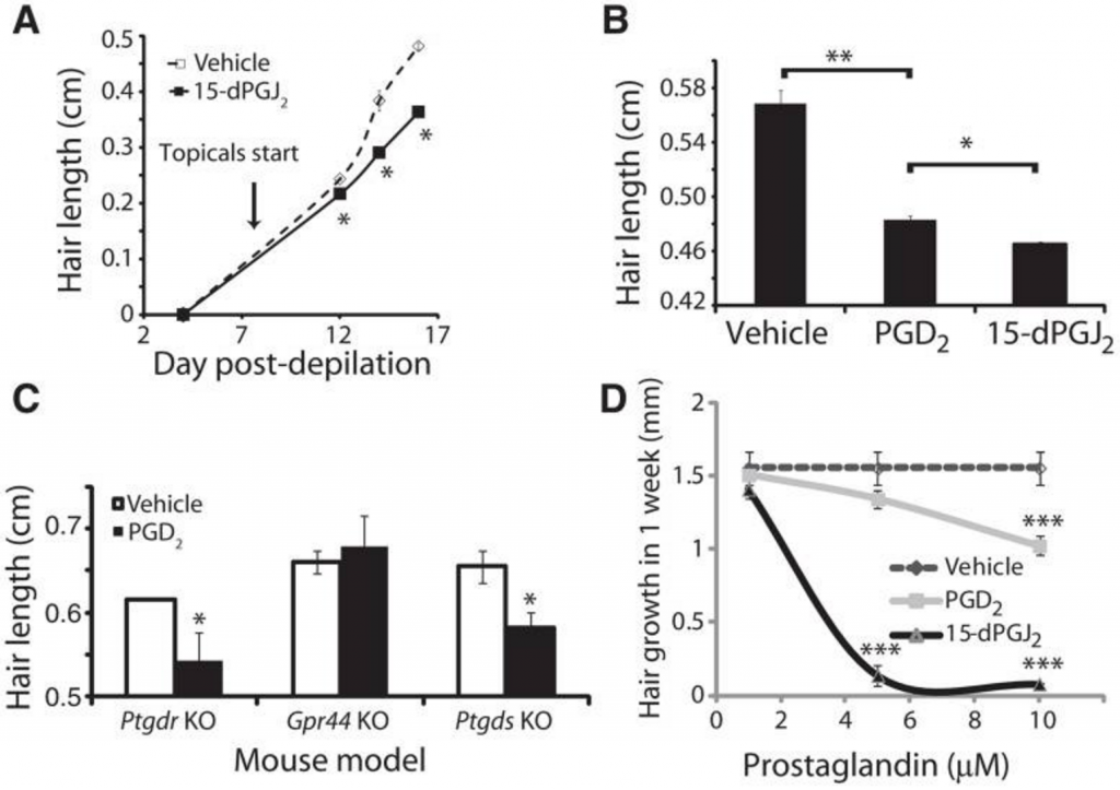 4 graphs showing the effect of prostaglandin d2 on mice