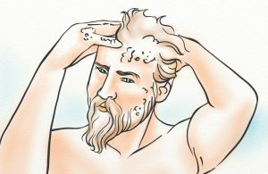 A man shampooing his hair in the shower