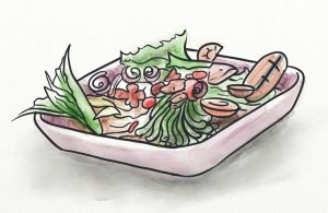 Naturally alkalising foods in a platter