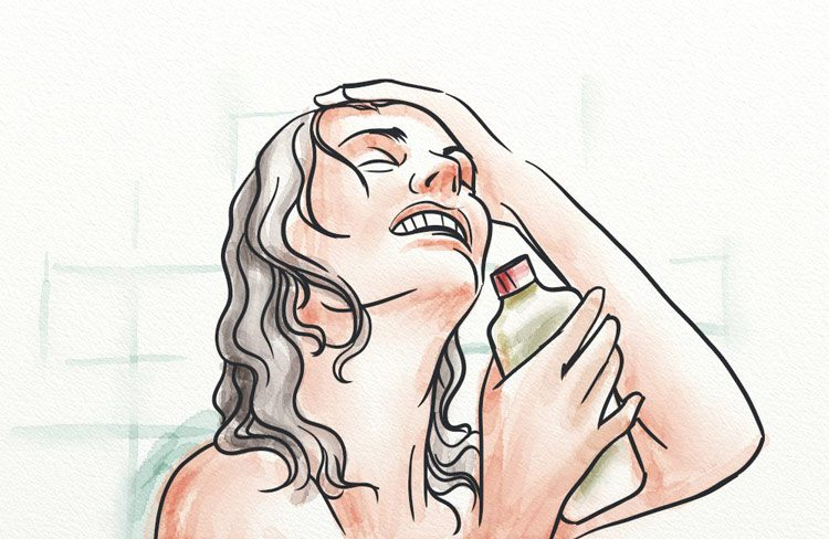 Using homemade shampoo in the shower