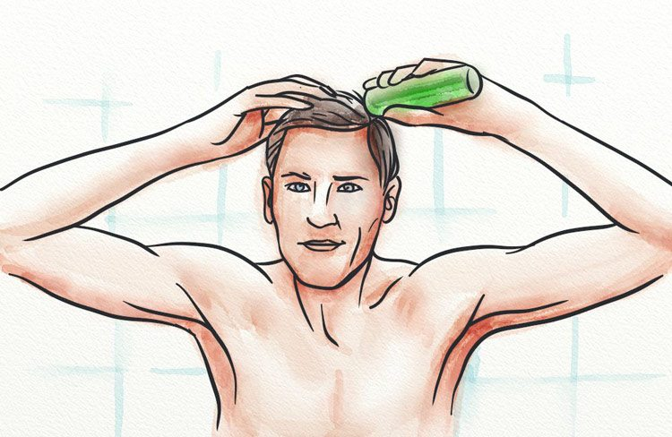 Applying a topical natural liquid to the scalp