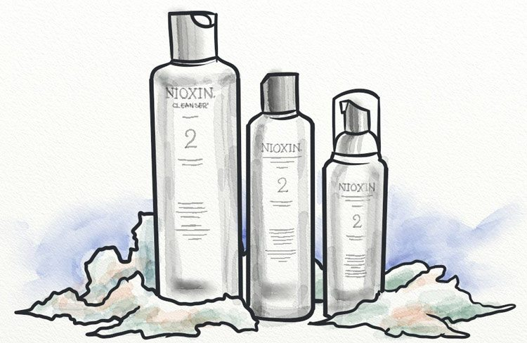 Bottles of nioxin products