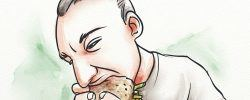Man eating an unhealthy burger