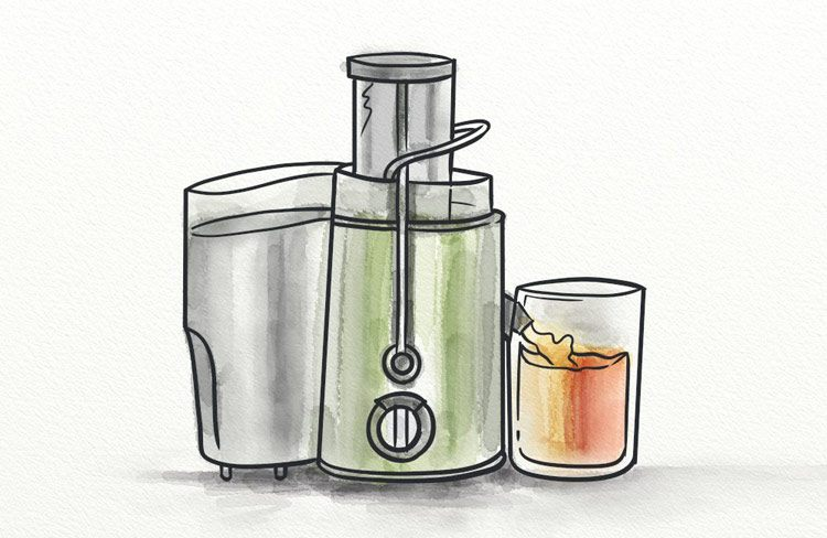 A vegetable juicing machine