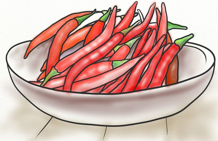 Cayenne peppers in a bowl