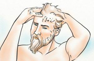 A man washing his hair with Regenepure DR shampoo