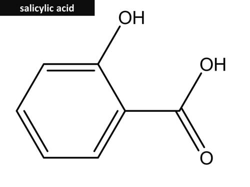 The chemical structure of salicylic acid.