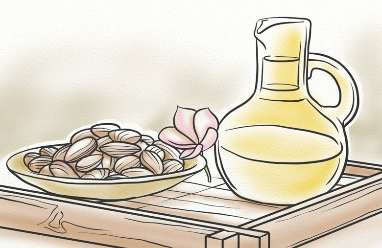 Almond oil provides nutrients to the hair follicles