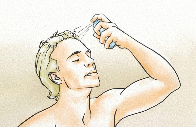 Spray for hairline