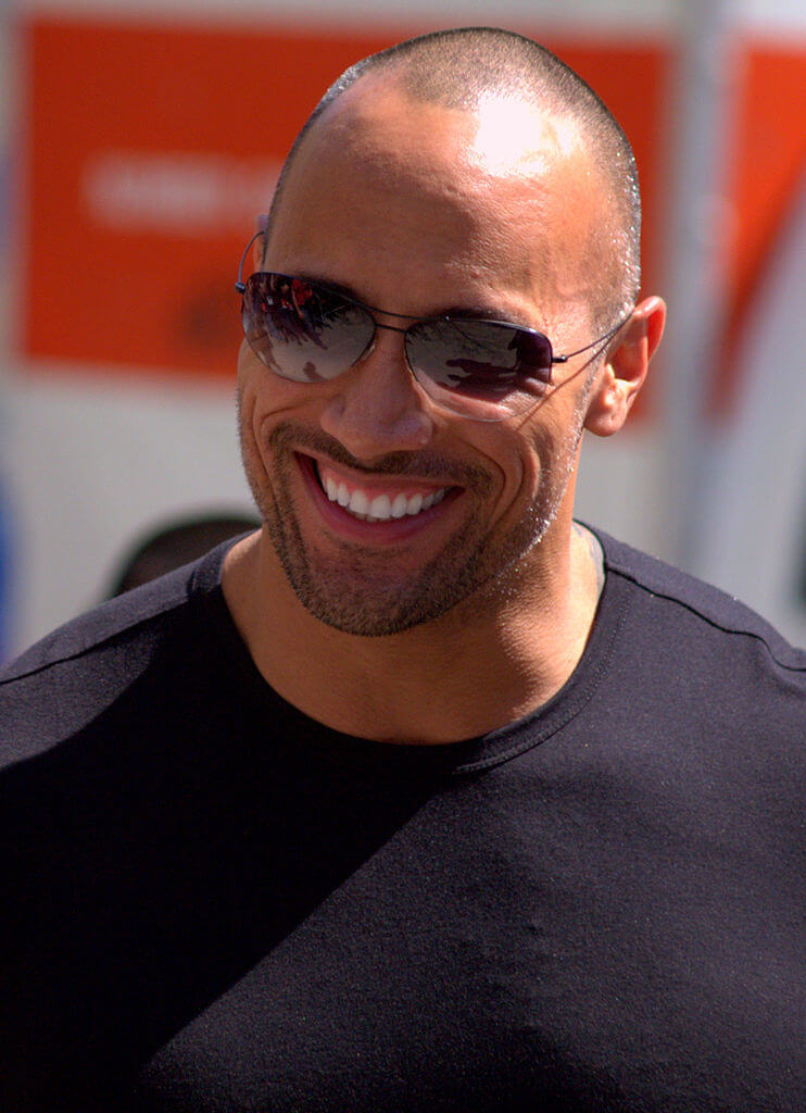 The Rock with a buzz cut