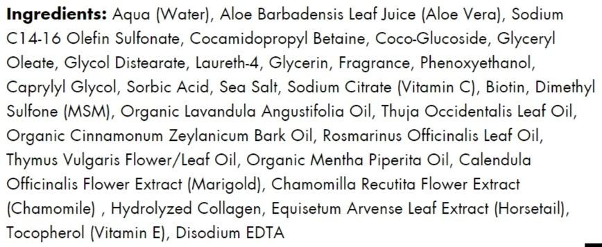 Hairfinity's Gentle Cleanse Shampoo ingredients