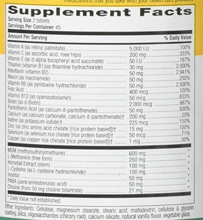 Country Life Maxi Hair vitamins supplement facts