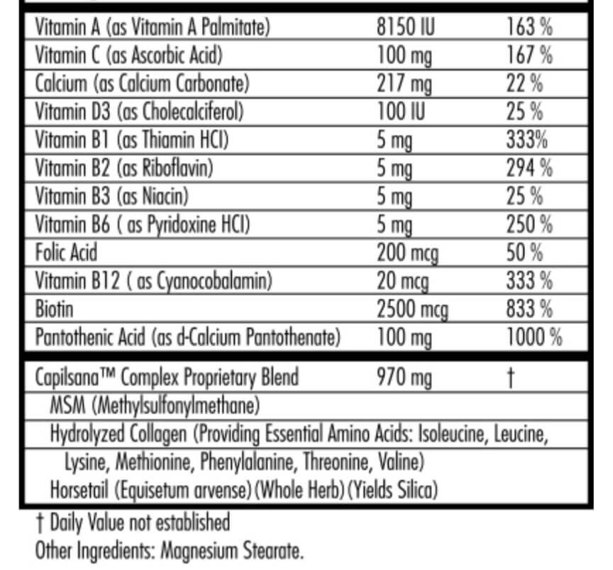 Hairfinity's Health Hair Vitamins supplement facts