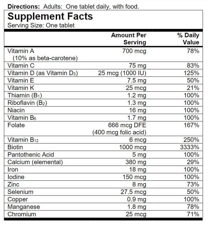 One-A-Day Women's multivitamin supplement fact