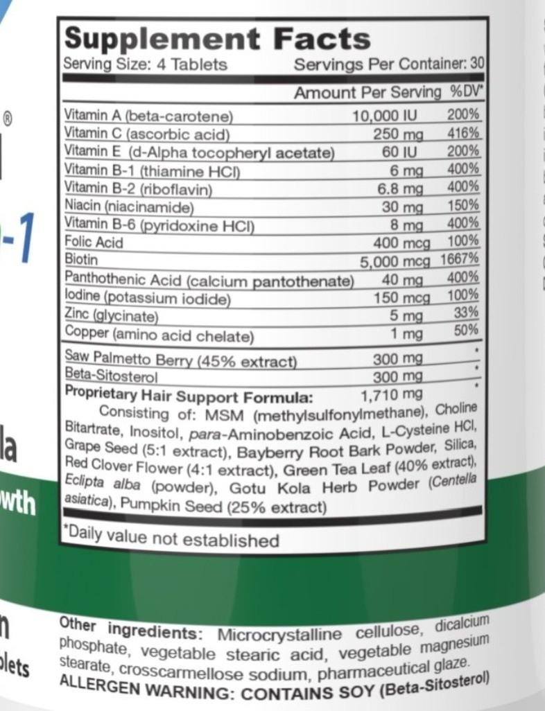 HairOmega 3-in-1 DHT Blocker ingredients