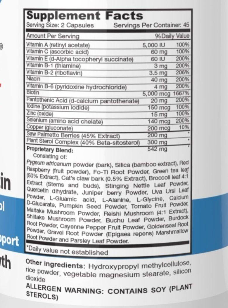 HairOmega DHT Blocker Biotin ingredients