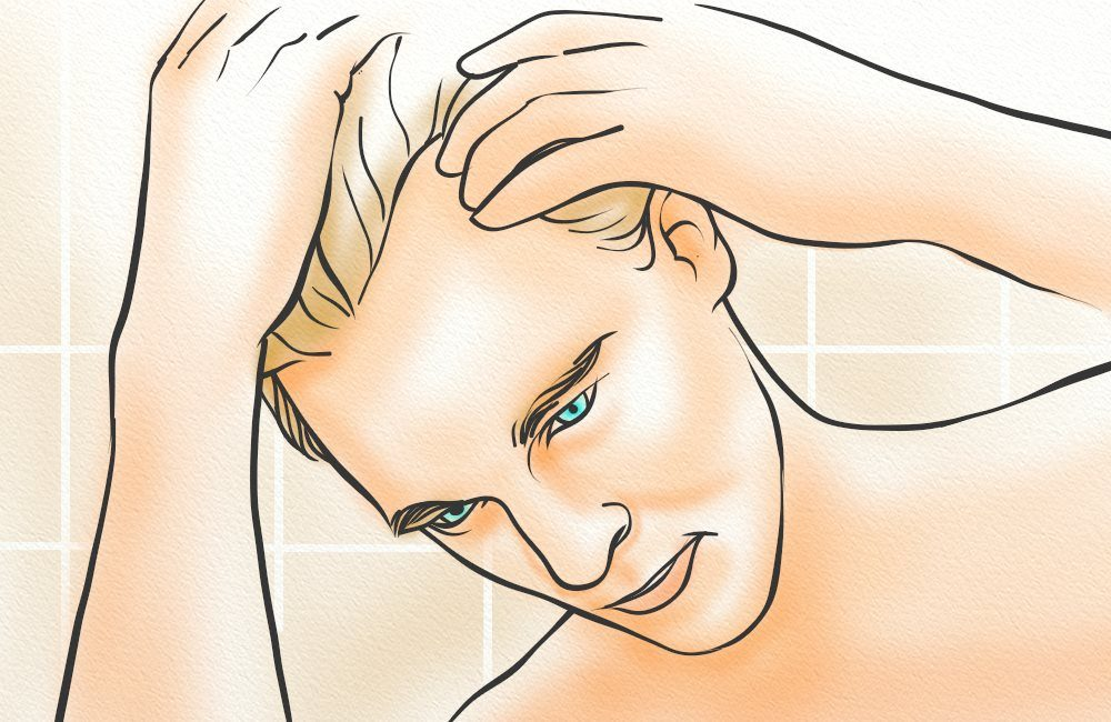A man applying Brotzu lotion to his scalp