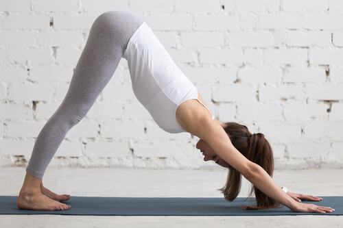 A woman performing the Downward Facing Dog yoga pose