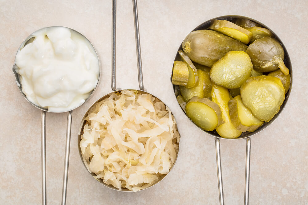 Yogurt, sauerkraut, and pickles