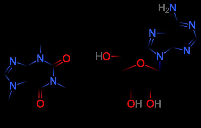 caffeine and adenosine molecules