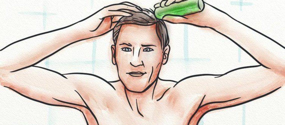 A man applying a tonic to his scalp