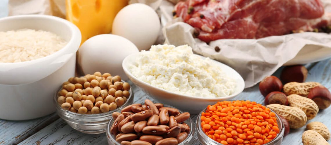 A table full of protein-rich foods